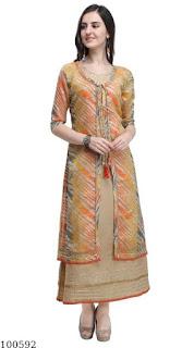 Heavy Cotton Slub Gown With Leheriya Print Silk Jacket