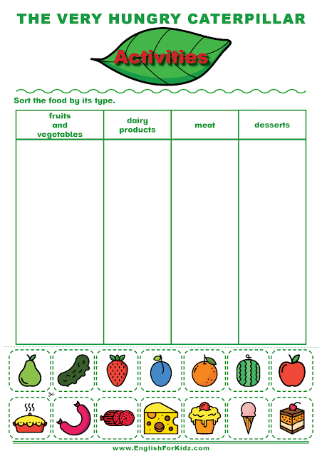 The Very Hungry Caterpillar activity to learn types of food.