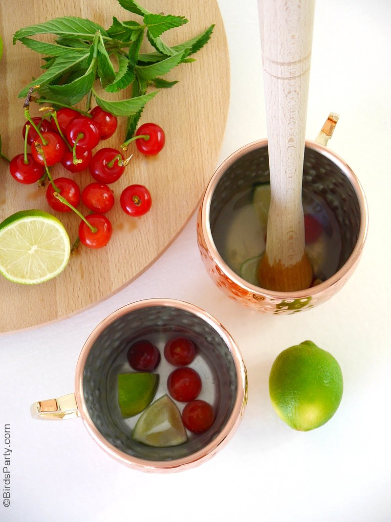 Cherry Moscow Mule Cocktail Recipe - a tasty and easy to make cocktail flavored with Kirsch, cherries and limes! Recipe for one serving or big batch cocktail! by BirdsParty.com @birdsparty
