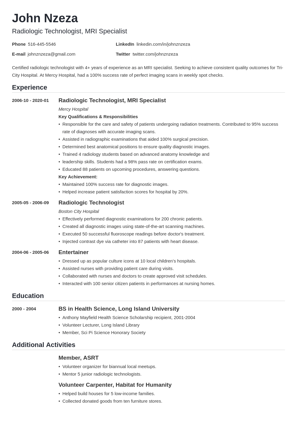 Resume for radiologic technologist student university editing service uk