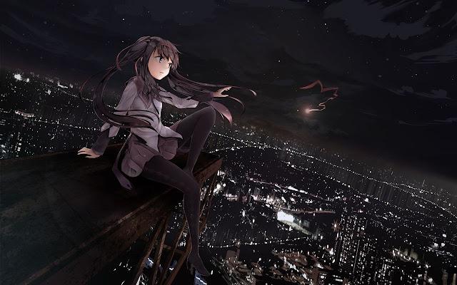 Black-Background-Anime-Girl-HD-Wallpaper