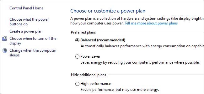ثلاثة أزرار اختيار تعرض خيارات خطة الطاقة في لوحة تحكم Windows 10