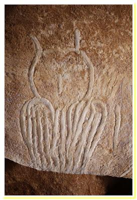Grotta di Chauvet, figura di un gufo storia dell'arte rupestre preistorica paleolitico