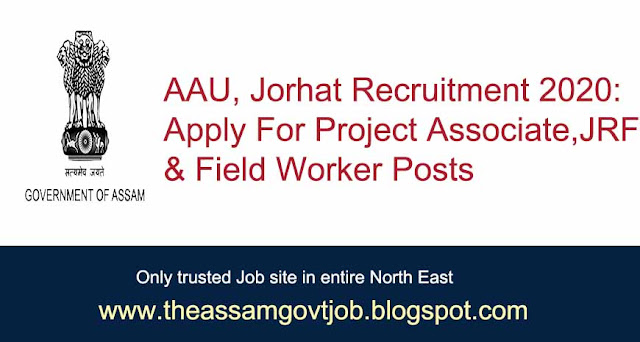 AAU, Jorhat Recruitment 2020: Apply For Project Associate, JRF & Field Worker Posts