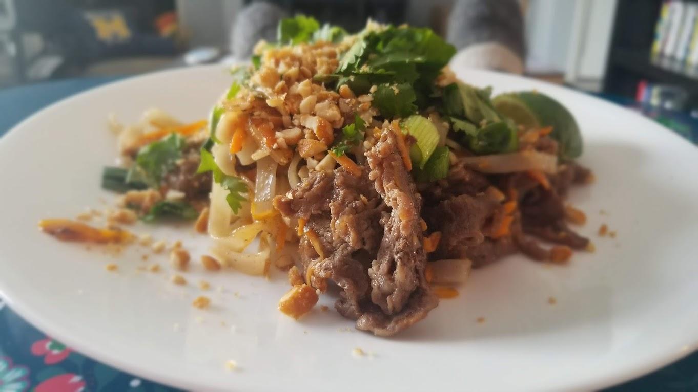Teriyaki Pad Thai with steak, from Home Chef