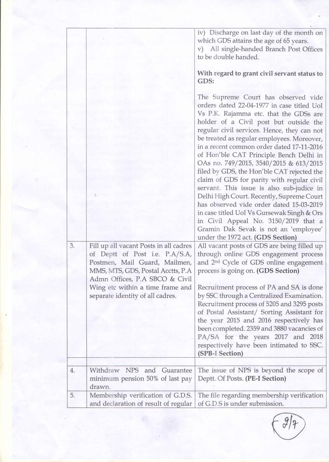 Postal Joint Council demands