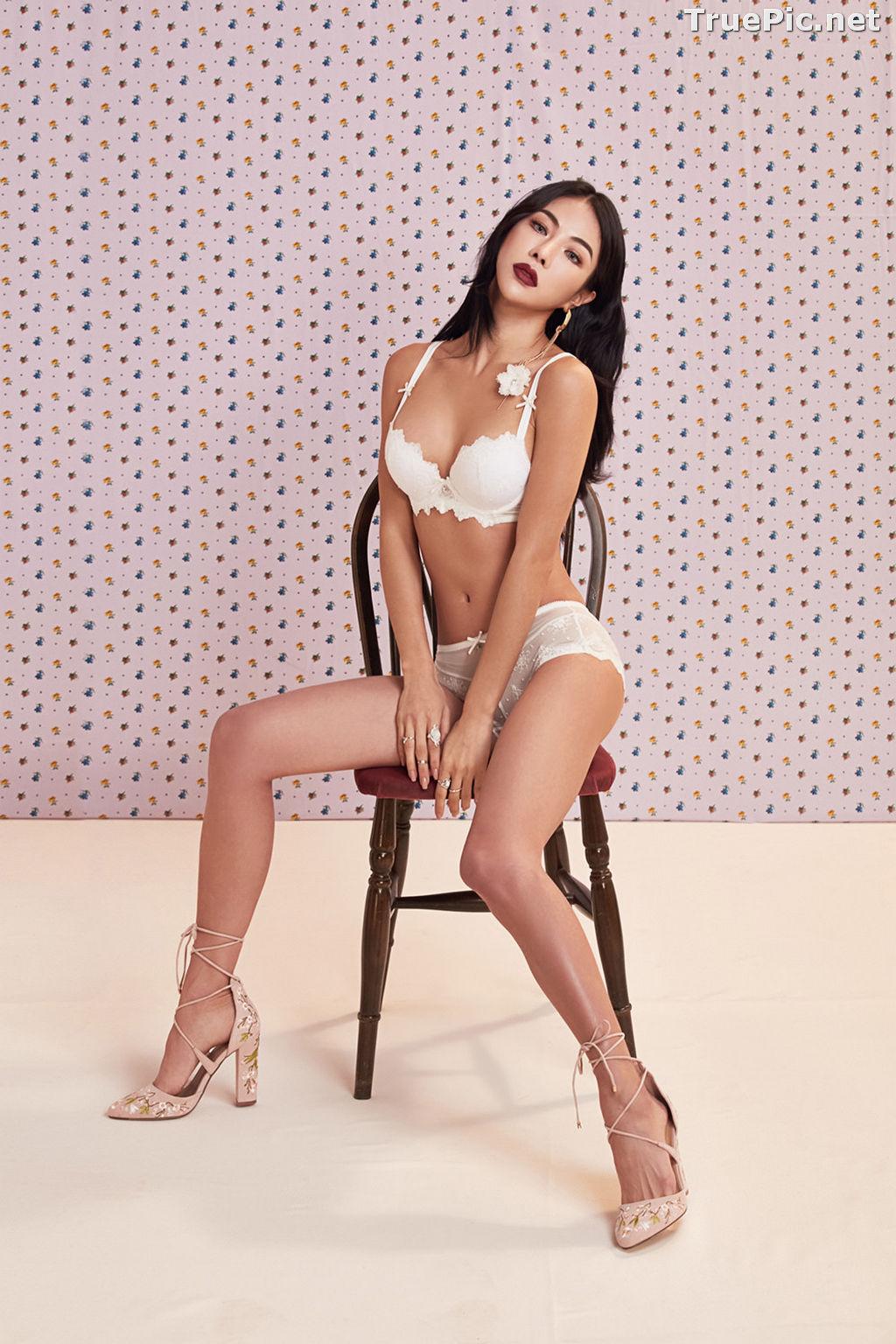 Image Korean Fashion Model - An Seo Rin - White Lingerie and Sleepwear Set - TruePic.net - Picture-6
