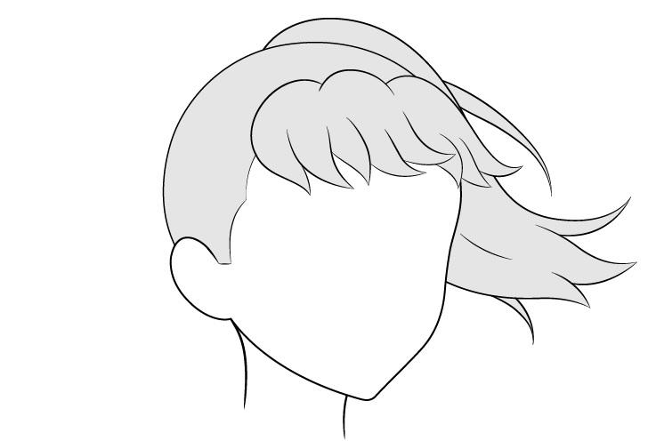 Anime rambut kuncir kuda bertiup angin 3/4 lihat gambar