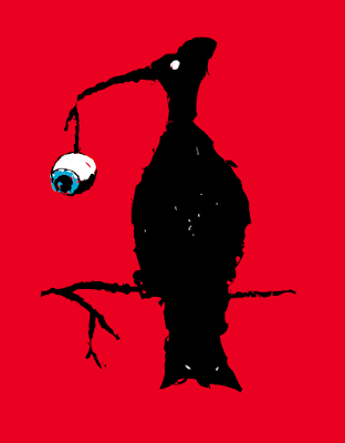 A black bird perches on a branch while holding an eyeball in its beak.
