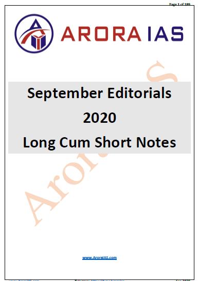 Arora IAS The Hindu Editorial Long Cum Short Notes (September 2020) : For UPSC Exam PDF Book