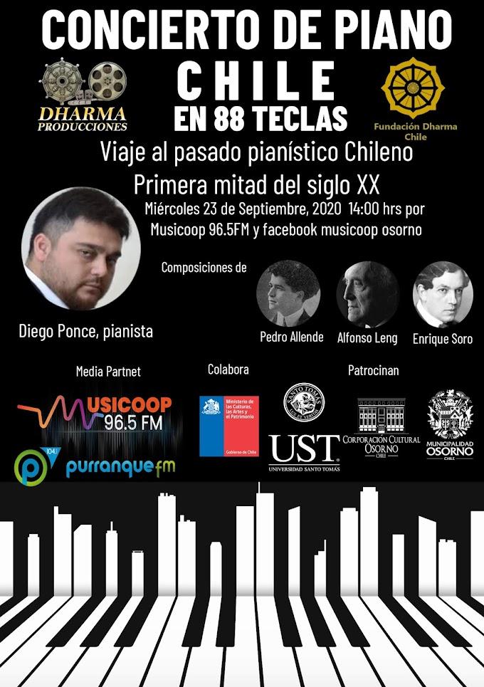Musicoop Osorno celebra Día Nacional del Trabajador de la Radiodifusión Sonora con concierto de Piano junto a Diego Ponce