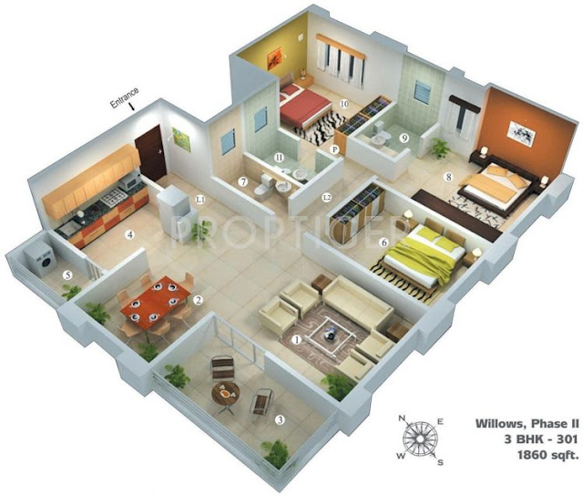3 room village house plans