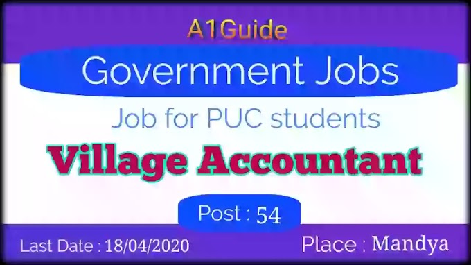 Govt Jobs for 12th Pass Students | Village Accountant | Last date 18/04/2020