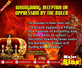Major Sin no.16.2. WRONGDOING, DECEPTION OR OPPRESSION BY THE RULER
