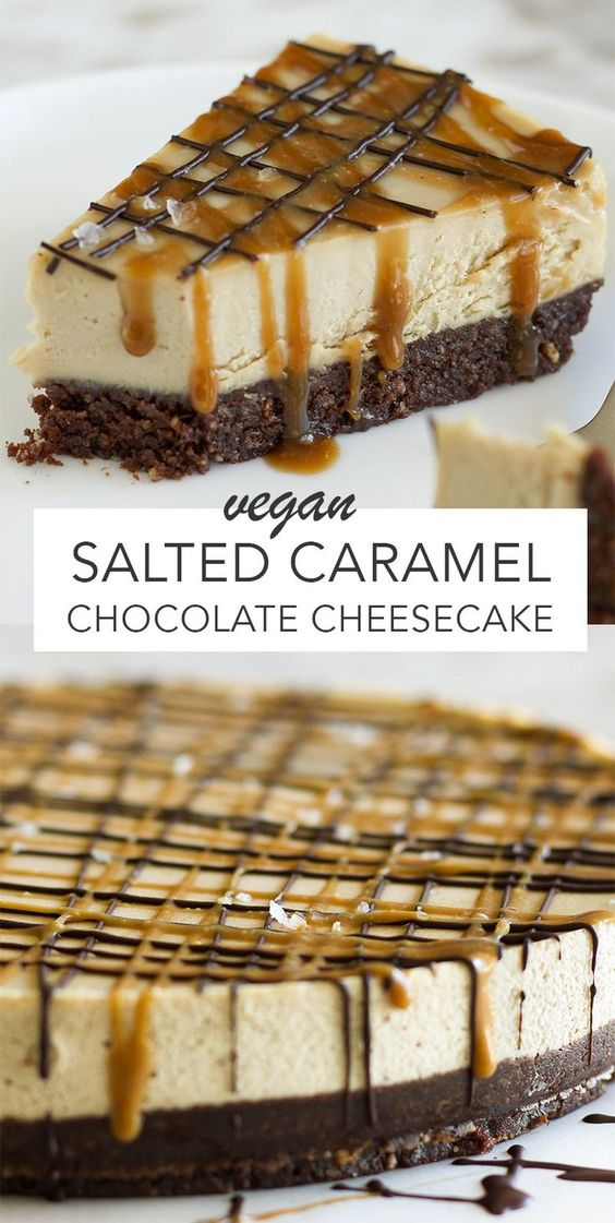 Vegan Salted Caramel Chocolate Cheesecake - #caramel #Cheesecake #Chocolate #desert #Salted #vegan