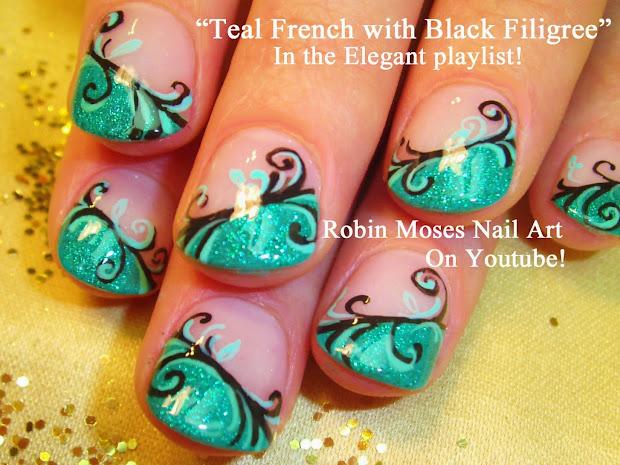 """nail art robin moses """"teal"""