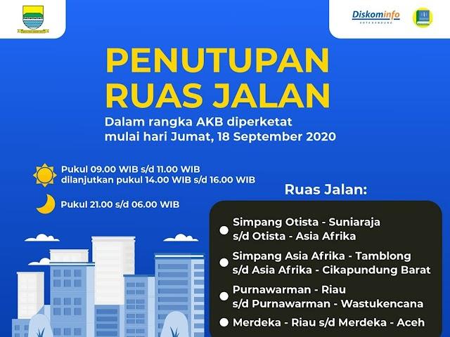 Adaptasi Kebiasaan Baru Diperketat, Ini Aturan dan Lokasi-Lokasi Serta Jadwal Penutupan Jalan di Bandung