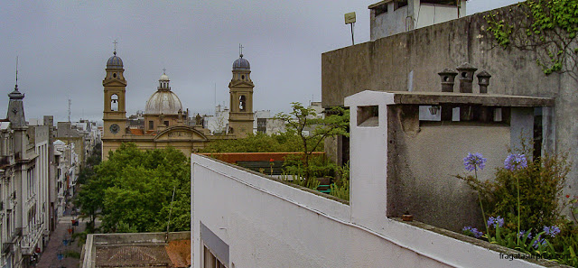 A Catedral de Montevidéu vista de um terraço da Calle Sarandí