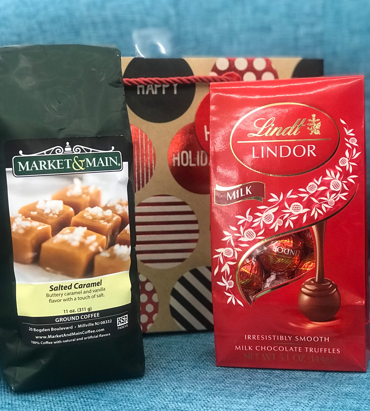 Sharing idea buying Lindor chocolates and caramel salted coffee as a Christmas Gift