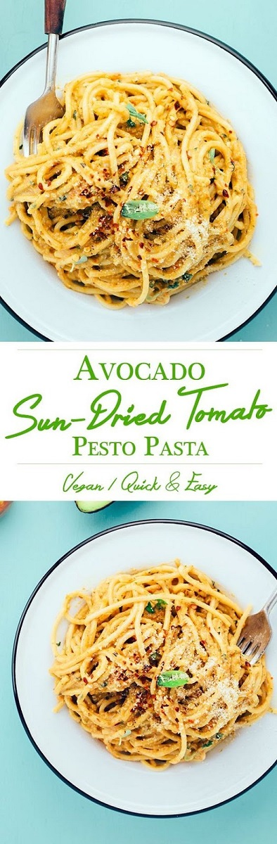 AVOCADO AND SUN-DRIED TOMATO PESTO PASTA RECIPE #pasta