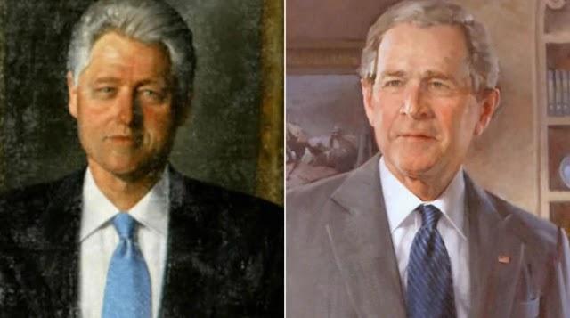 الرئيس الامريكي دونالد ترامب يزيل صورة بوش وبيل كلينتون من البيت الابيض
