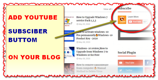 How to add YouTube Subscriber Button on Blogger-2020