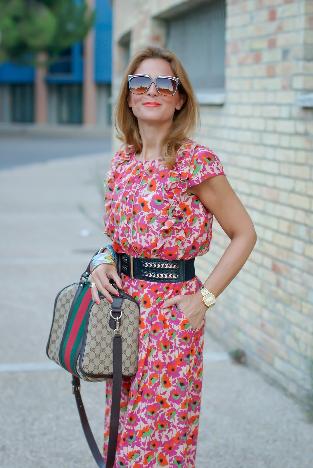 Gucci vibes with vintage floral print silk suit on Fashion and Cookies fashion blog, fashion blogger style