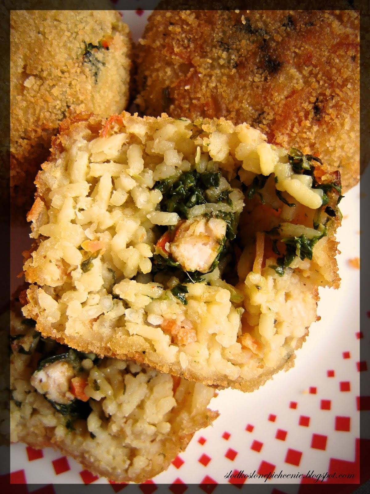 Kotlety ryżowe z kurczakiem i szpinakiem