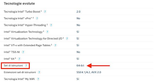 verifica caratteristiche tecniche cpu se 32 o 64 bit