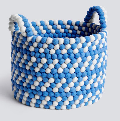 basket made from a lot of blue and white felt balls