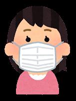 マスクを付けた人のイラスト(女性)