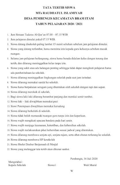 Contoh Tata Tertib Sekolah/Madrasah Yang Wajib di Patuhi Siswa