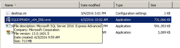 SQL Server Express 2016 - Download complete