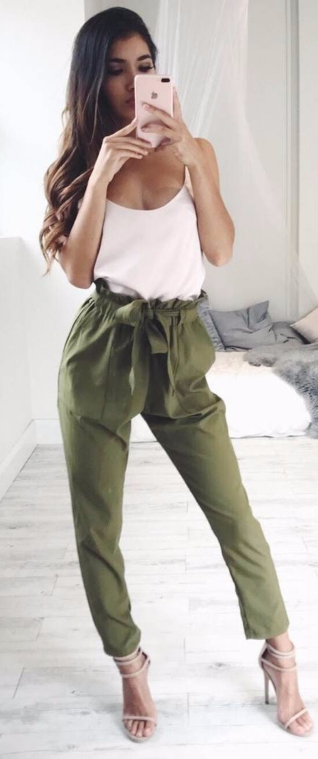olive green high waist + nude tank top