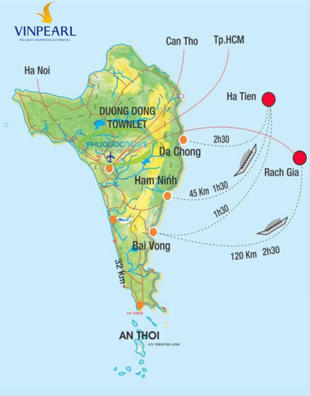 Vị trí cảng biển và sân bay ở Phú Quốc
