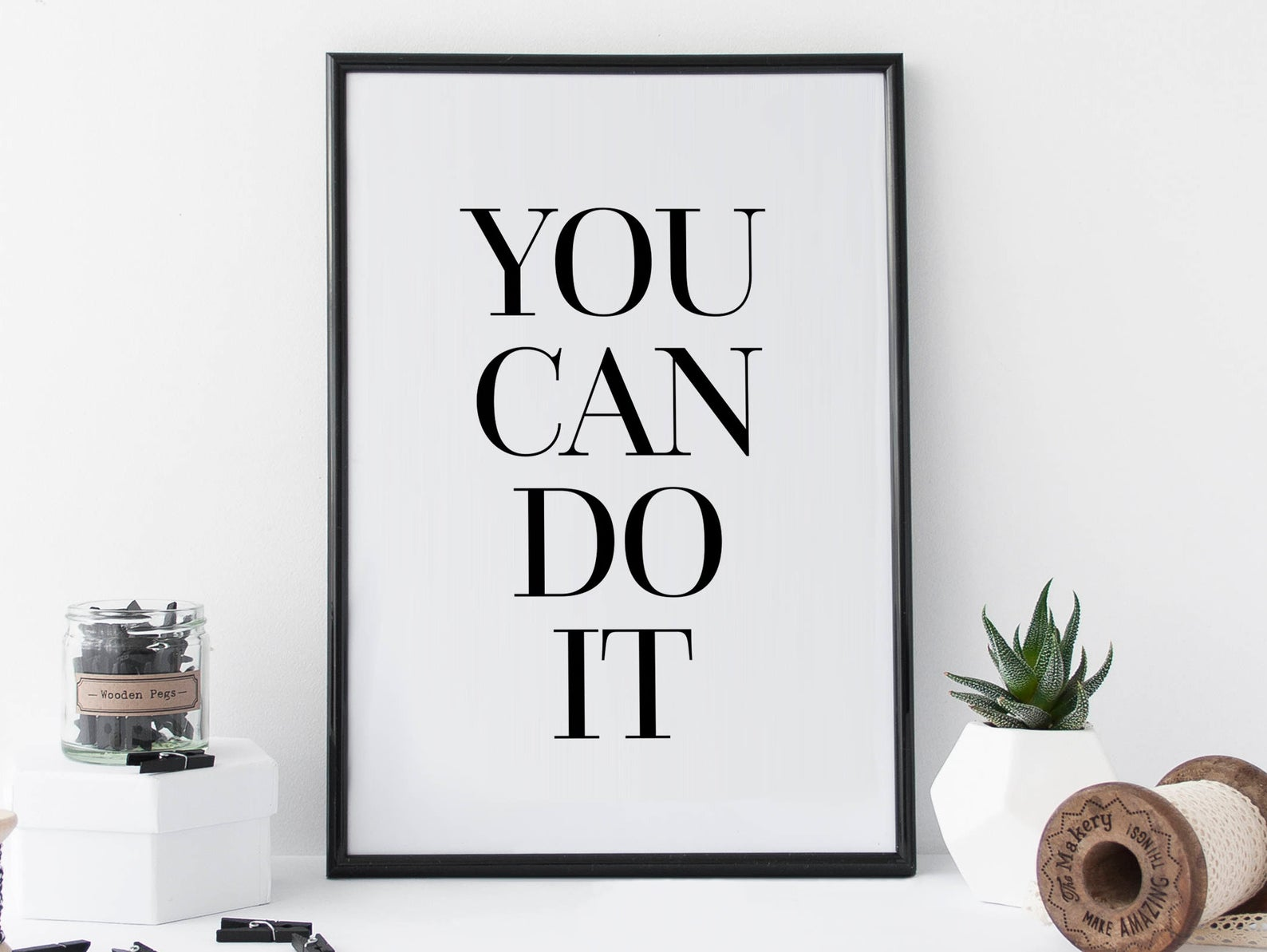 motivational quote wall print, you can do it print, wall print quote