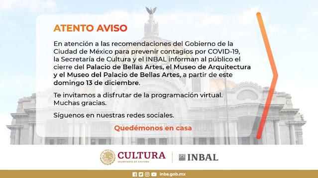 En apoyo a la prevención de contagios por COVID-19, cierra el Palacio de Bellas Artes