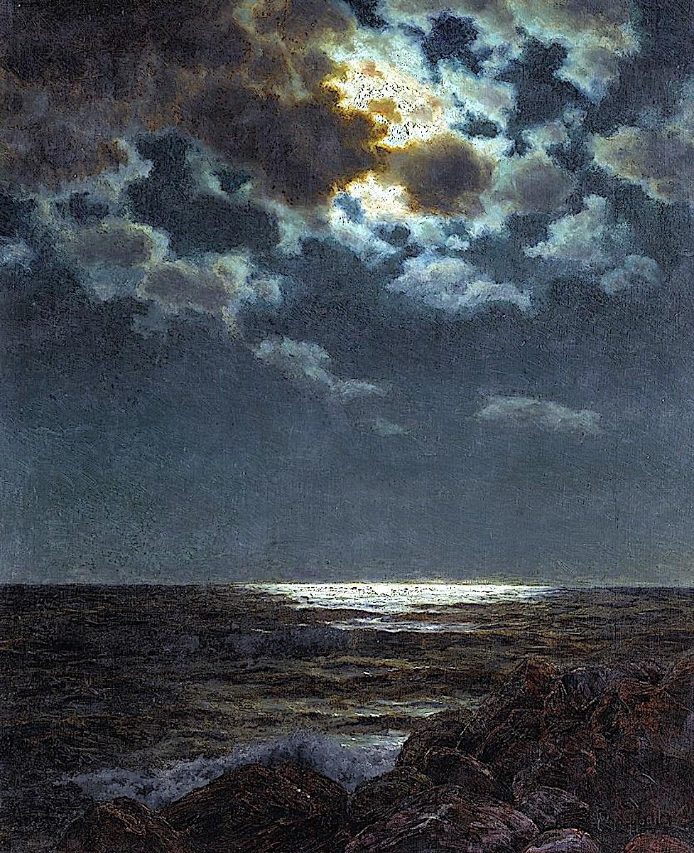 an Ivan Fedorovich painting of a coastal moon at night
