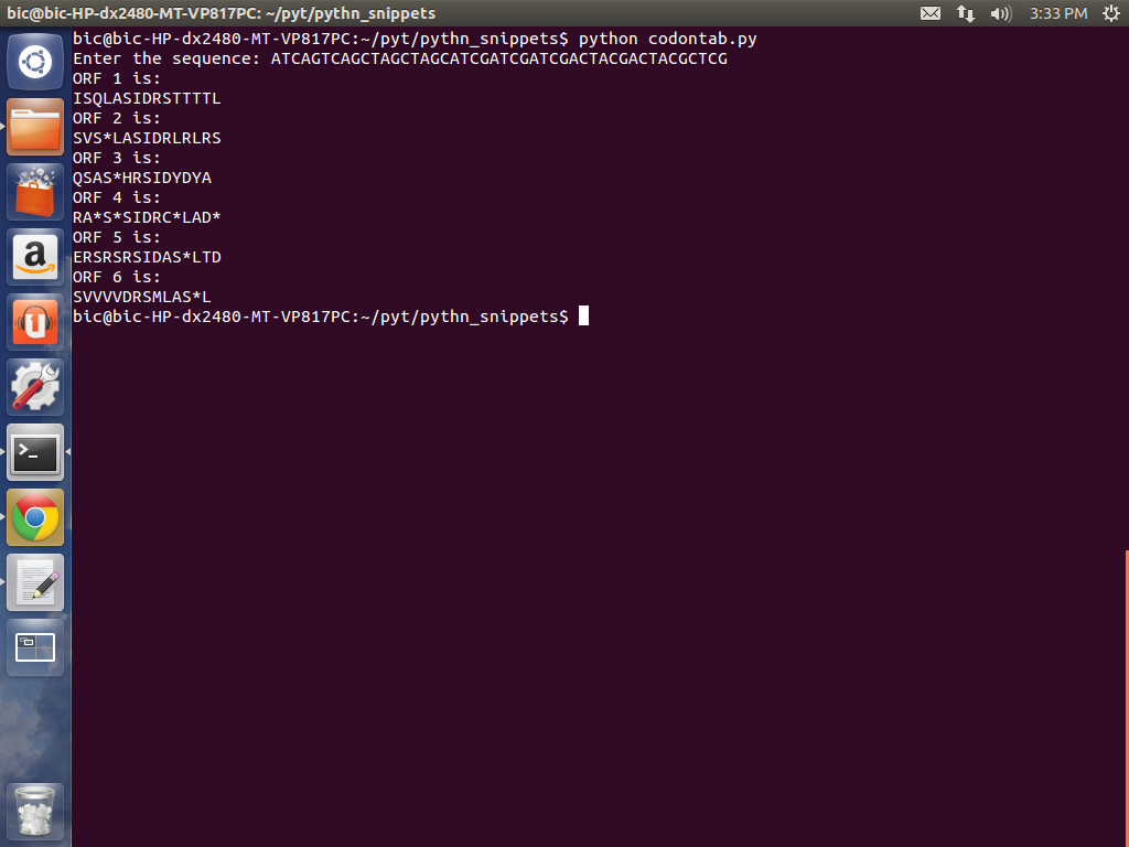 BiOcOdErS: Python code to translate the entered nucleotide