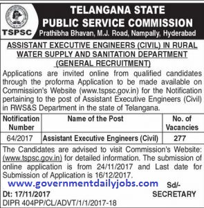 TSPSC RECRUITMENT 2018 FOR 277 ASSISTANT EXECUTIVE ENGINEERS POST