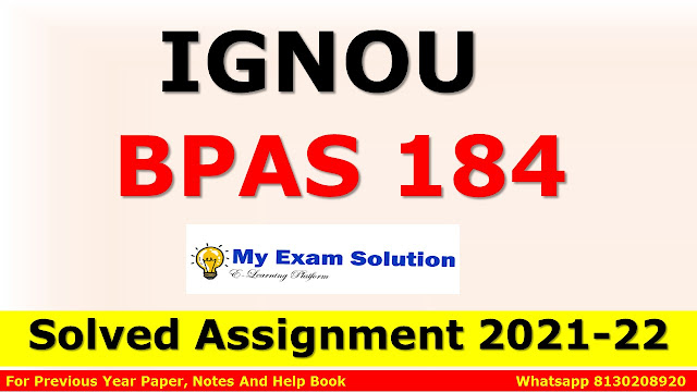 BPAS 184 Solved Assignment 2021-22