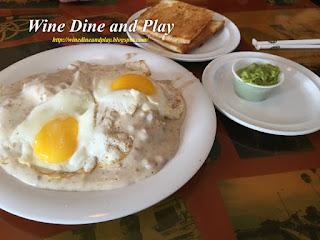 The Hangover helper breakfast dish and cuban toast with guacamole at the Seahorse Restaurant in Pass-A-Grille, Florida