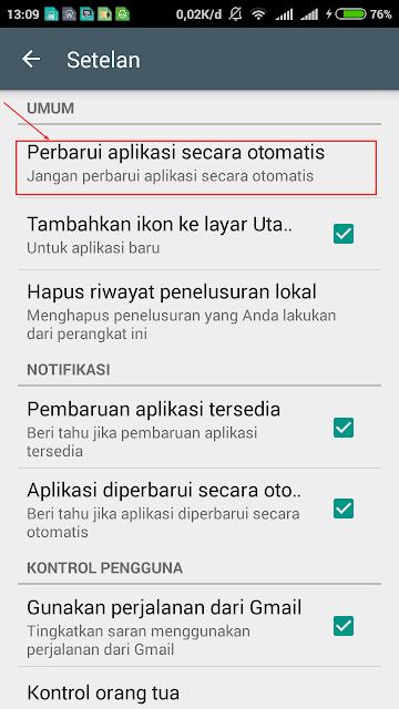 Cara mudah mematikan auto update di android