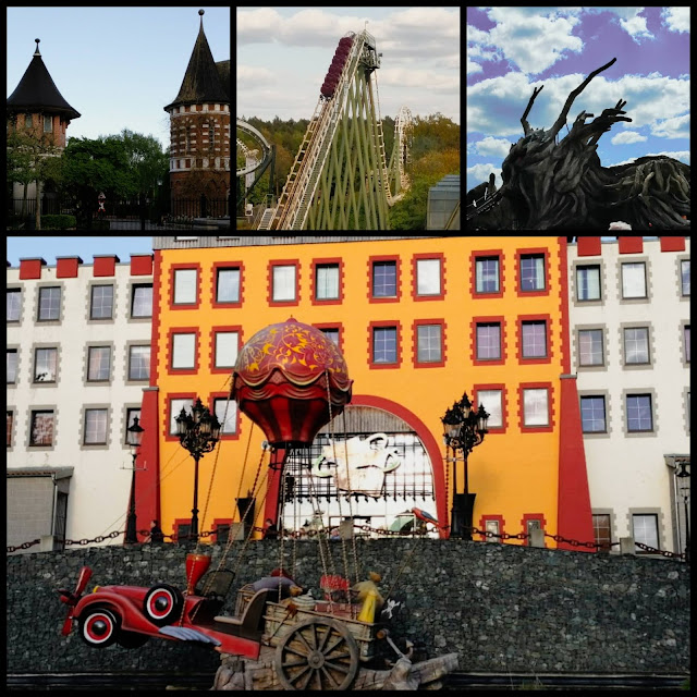 Collage of photos from Heide Park in Germany