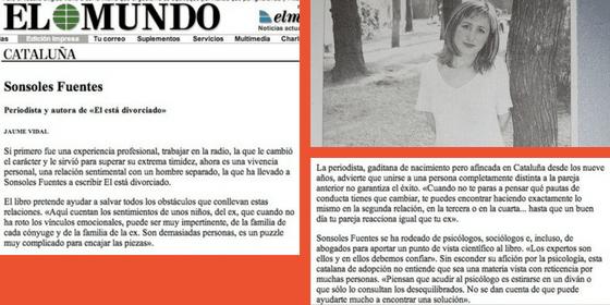 El diario El Mundo se hace eco de la publicación de Él está divorciado de Sonsoles Fuentes