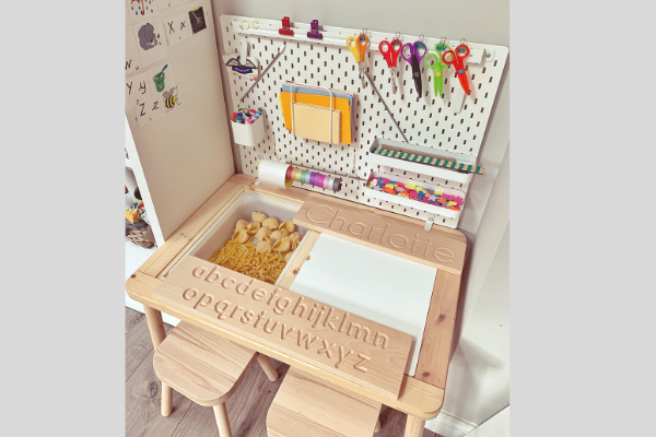 ikea flisat desk with skadis pegbaord and trofast trays