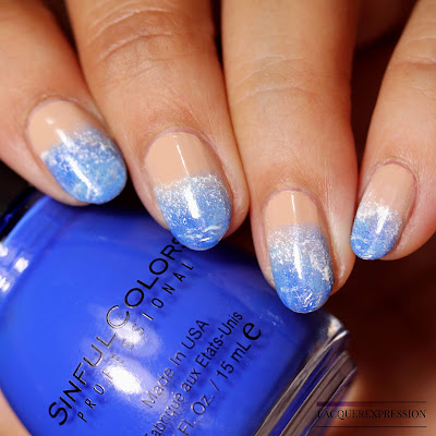 Blue ombre nail gradient using SinfulColors nail polish
