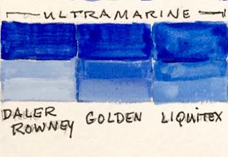 Ultramarine color comparison.