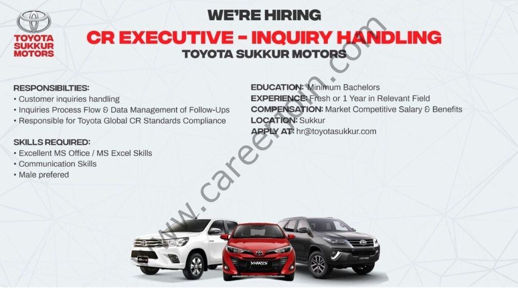 Toyota Sukkur Motors Jobs CR Executive