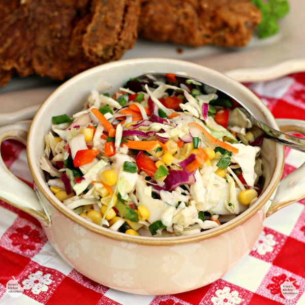 #AD Firecracker Coleslaw | by Renee's Kitchen Adventures - Easy healthy recipe for a non-mayonnaise coleslaw full of fresh veggies! An explosion of flavor in your mouth! #summeryum